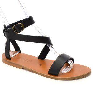 KJacques Cagliari Black Strappy Flat Sandals FR 39